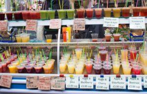 Borough marketに並ぶフレッシュなジュース