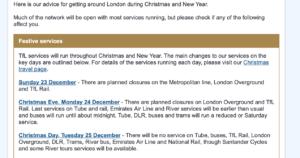 ロンドン交通局からのお知らせメール