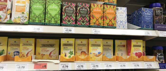 スーパーに並ぶ種類豊富な紅茶