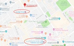 カフェの地図と最寄駅